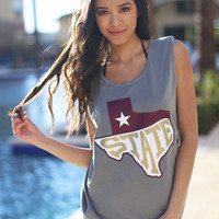 State Maroon & Gold Tank Top - Grey