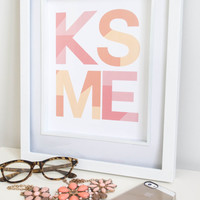 Quote art // love quote, valentines print, kiss quote, lips print, heart print, love print, geometric print, pink print, kiss print,