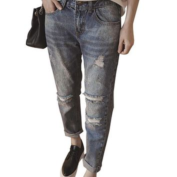 2017 New Fashion Summer Style Women Jeans Ripped Holes Harem Pants Loose Fitness Mid Waist Large Size Boyfriend Jeans for Women