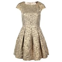 Jacquard Gold Fit And Flare Dress