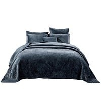 Tache Navy Blue Velvety Dreams Plush Waves Bedspread (JHW-852BL)