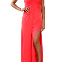 Coral Long Strapless Maxi Dress
