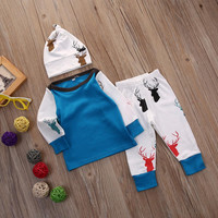 3Pcs Newborn Infant Baby Boys Girls Clothing Set 3pcs Top Deer Pants Leggings Hat Cotton Clothes Outfit Set Baby Boy Girl