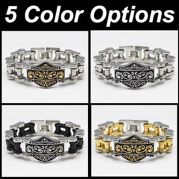 'The Shield' Motorcycle Chain Bracelet (950Gold/Stainless)
