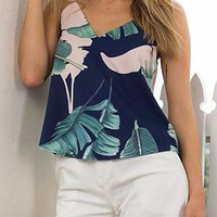 Navy Palm Leaf Print V-Neck Cami Top
