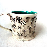 Ceramic Mug, Turquoise Palm Tree Mug, Handbuilt Large Coffee Cup, Pottery Mug, 16 oz