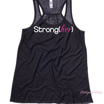 Workout Tank, Womens Tank Top, Black Fitted Racer back, Strongher