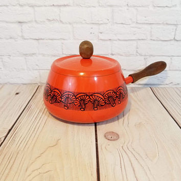 Vintage Orange Enamel Retro  Mushroom Lidded Pot