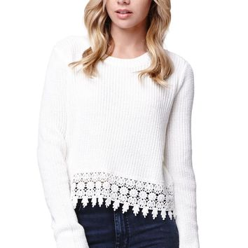 LA Hearts Crop Long Sleeve Crochet Hem Sweater - Womens Sweater