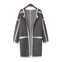 Dark Gray Cocoon Neck Striped Cardigan