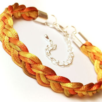 Braided bracelet woven rope plaited cord macrame friend knot adjustable modern satin jewelry gift for her - gold orange olive