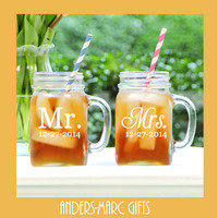 2 Mr. and Mrs.Sippy Cup Mason Jars Tumbler with Lid * Add Wedding Date * Straw Opening*Newlywed Shower Wedding Gift *Engagement, Anniversary