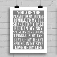 You Are The Love of My Life Word Art Print - Love Themes Printable Home Decor Wall Art (JPG/PDF) 8x10