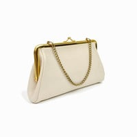 Vintage 60s Ivory & Gold Leather Clutch / Evening Bag / Ivory Purse / Wedding Clutch