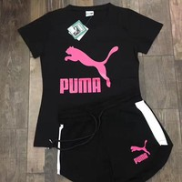 Puma Women Print Short Sleeve Top Shorts Set Two-Piece Sportswear