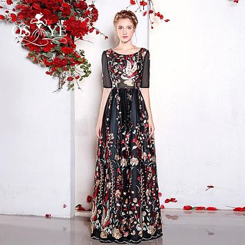 2017 New Fashion Floral Flowers Pattern Print Long Prom Dresses Robe de Soiree O-Neck Half Sleeves Formal Evening Party Gowns