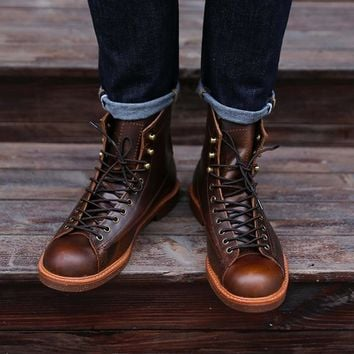 Handmade Genuine Leather Red Boots Men Casual British Wing Autumn Winter Shoes High Quality Ankle Boots Winter Boots FM237