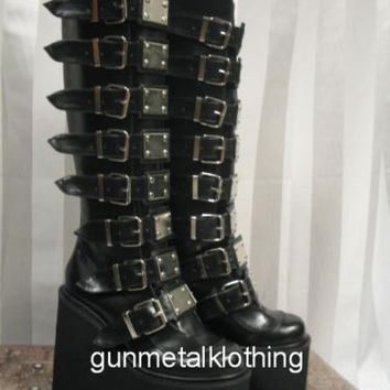 "Demonia HUGE 5.5"" Black Platform Buckle Metal Plate Knee Boots Gothic Goth 6-12"