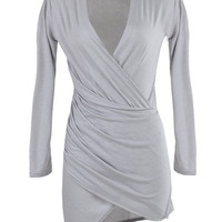 Gray V-Neck Long Sleeve Ruched Wrap Bodycon Mini Dress