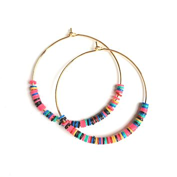 Rainbow Beaded Hoop Earrings - Small