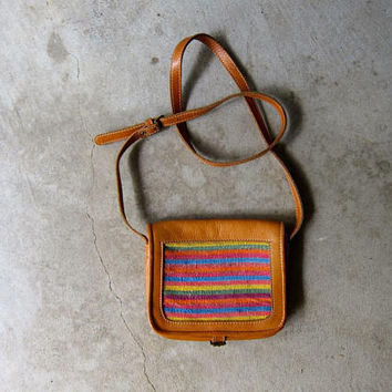 Small Ikat Cross body Purse Leather Shoulder Bag Colorful Woven Knit Boho Purse Leather Cotton Vintage Ethnic Purse MACASA Nicaragua Bag