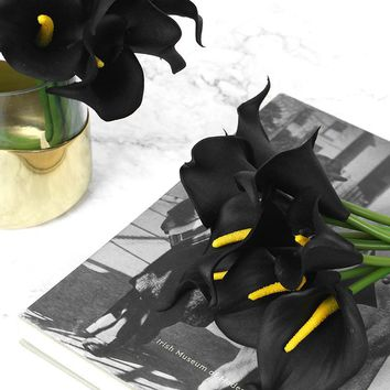 """Real Touch 9 Calla Lily Bouquet in Black 13"""" Tall"""