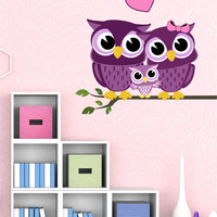 Owl Wall Decals - by Decor Designs Decals, Owl Branch Decals - nursery owls for crib - Vinyl decals - Nursery - Owl Wall Decals - Owl Branch Decals - Owl Set JJ1