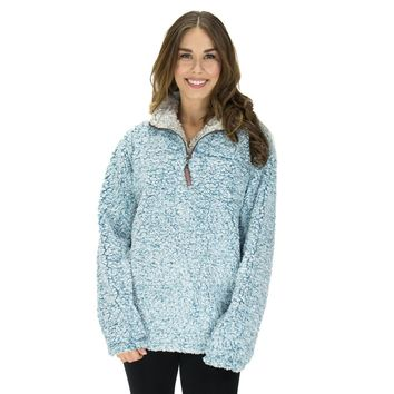 Frosty Tipped Pile 1/2 Zip Pullover in Aqua by True Grit