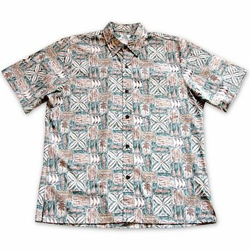 olukai green reverse print hawaiian cotton shirt