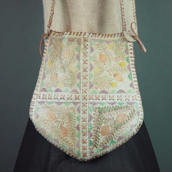 70s Leather Hippie Bag Vintage 1970s Taupe Painted Whipstitch Handmade Boho Bohemian Shoulder