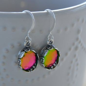 Oval Vitrail Faceted Crystal Earrings, Rainbow Stone, Pink, Green, Light Reflecting, Color Changing, Dangle Drop Earrings, Small, Little