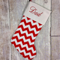 PERSONALISED CHRISTMAS STOCKING - Red and White Chevrons - You Choose The Font  & Embroidery Colour - Customised To Your Preference