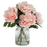 D & W Silks Peonies in Ribbed Glass Vase