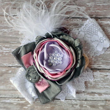 Moonlight Sonata boutique headband- pink, lavender, gray, wine, and white-photo prop-wedding-birthday & baby shower gift-vintage inspired