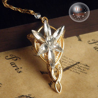gold tone Lord of the Rings Arwen Evenstar necklace- 7 pcs Crystals
