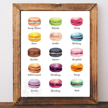 Macaron print, kitchen decor wall art, French macarons, kitchen print, food art, macaroons, instant download, PRINTABLE WALL ART, 8x10 11x14