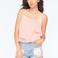 Full Tilt Crochet Hem Womens Cami Peach  In Sizes