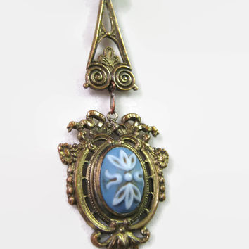 Antique Pendant E.A. Bliss N.Y. N.Y Circa 1875 RARE Victorian Brass & Wedgwood Pendant