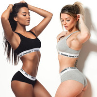 GYMSHARK Tracksuits Women Fitness Suits Vest Crop Top And Shorts 2017 Fashion Slim Tank Shirts Panties Two Piece Set Clothing