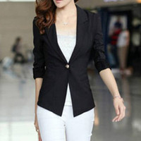 Black Single Button Sheer Lace Back Patchwork Slim Lapel Blazer