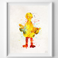 Big Bird Print, Sesame Street Poster, Watercolor Art, Nursery Art Print, Baby Shower, Nursery Wall Art, Room Decor, Christmas Gift