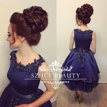 Navy Blue Tea Length Robe De Cocktail Dresses With Appliques Beaded Puffy A Line Cheap Sleeveless Tulle Party Prom Gown 2017