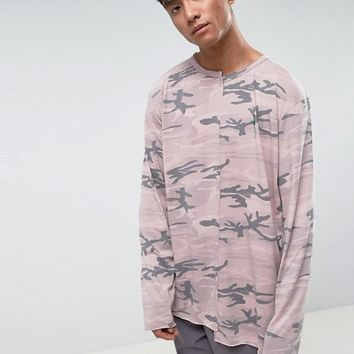 Mennace Long Sleeve T-Shirt With Splicing In Desert Camo at asos.com
