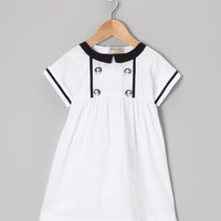 White & Navy Anchor Button Dress - Infant & Toddler | zulily