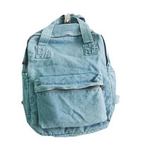 Trong Casual Unisex Tote Denim Backpack Preppy Style Jeans Double Shoulder Bag School Bags for Teenagers Travel Backpack Mochila