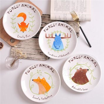 Creative Animal Fox Cartoon Dessert breakfast plate Ceramic soup plate steak fruit dish Child dishes Porcelain Tableware Platter
