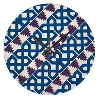 Moor African Arabic Pattern Design Blue Purple Wall Clock