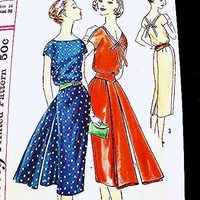 1950s Dress Pattern Misses size 16 Bust 36 UNCUT Sheath Dress, Sabrina Neckline V Back, Fly Away Panel