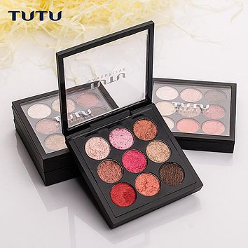 TUTU 9 Colors Earth Tone Shimmer Matte Pigment Glitter Eyeshadow Palette Magnetic Design Metallic Shadow Palette Makeup