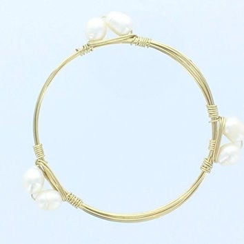 Womens Gold Wire Bangle with Imitation Pearl Beads, Bangle Bracelet, Stack them up for a designer look!